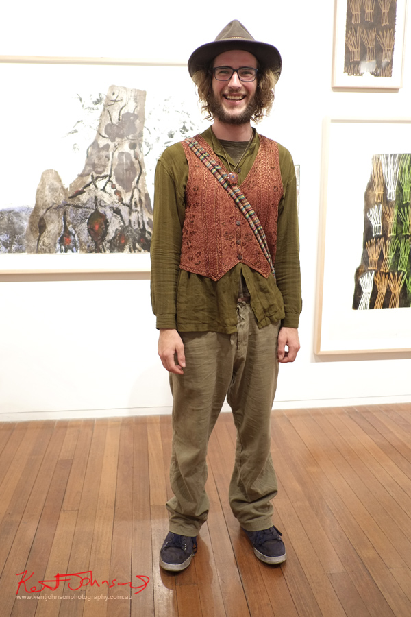 Emanuel showing his Byron style last night at Roslyn Oxley 9 gallery. #ByronBay #Paddington #Menswear #Boho #Hat #Vest #mensstyle #Style #barista #Tote #Hippy #beards
