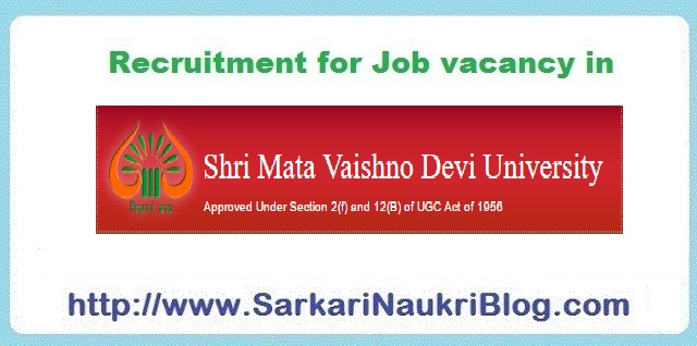 Naukri Job vacancy in SMVDU Jammu