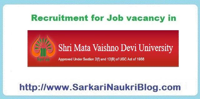 Naukri Job vacancy in SMVDU Jammu