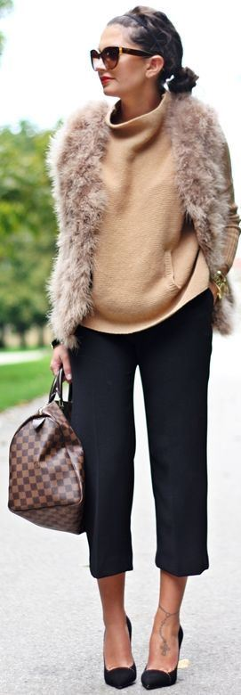 how to style a fur vest : plaid bag + nude sweater + pants + heels