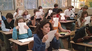 Students receiving handouts in 'Fast Times at Ridgemont High'