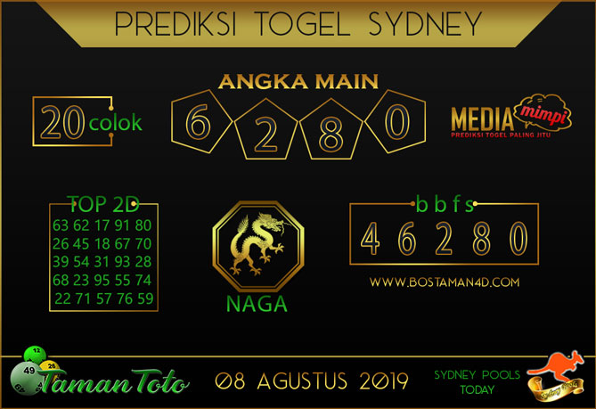 Prediksi Togel SYDNEY TAMAN TOTO 08 AGUSTUS 2019