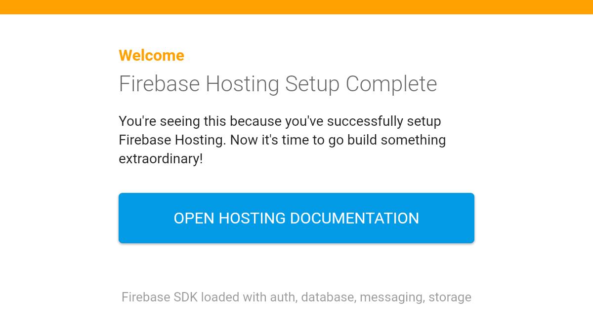 Firebaseホスティングのプロジェクトがデプロイされたデフォルトのトップページ