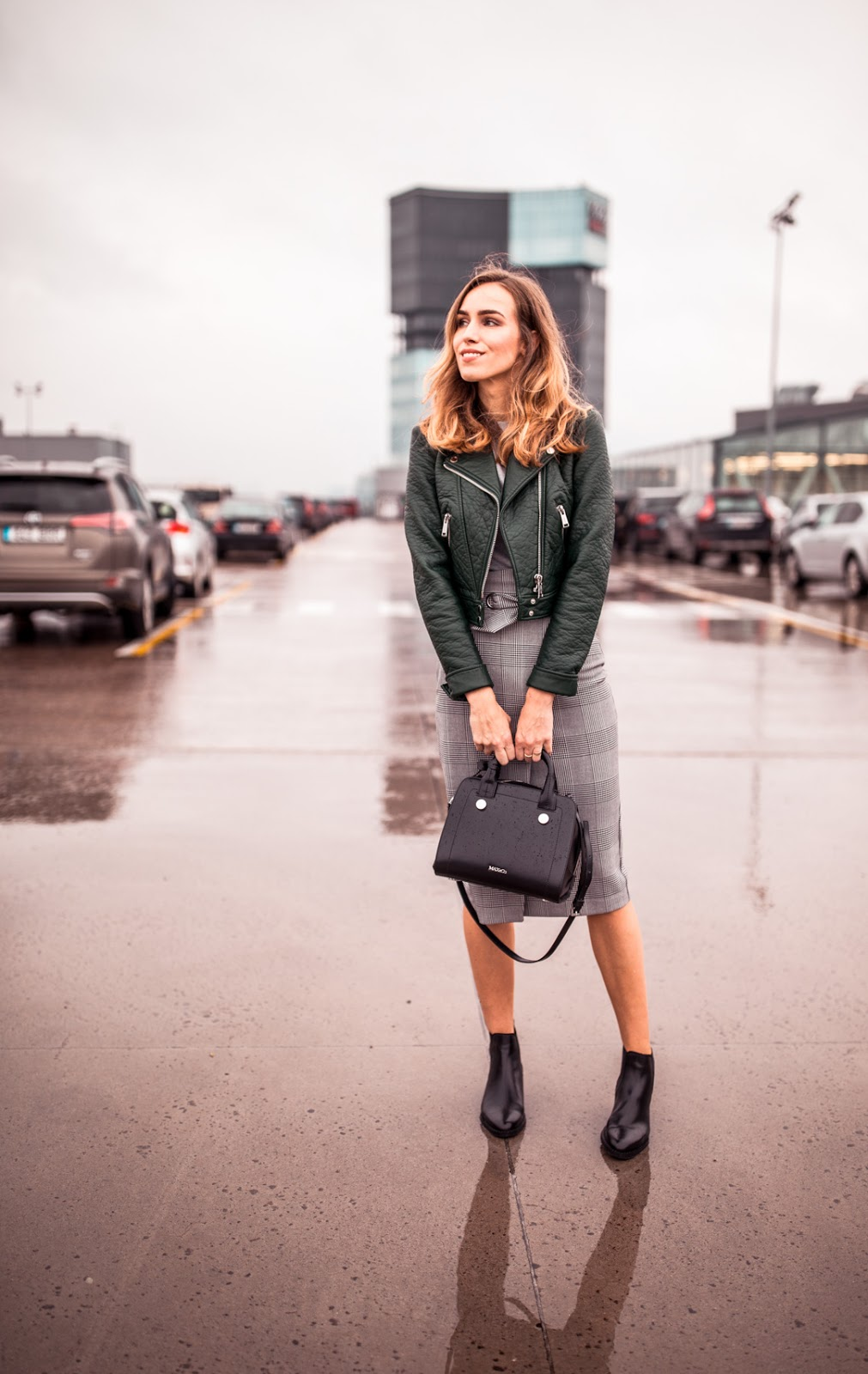 green leather jacket plaid midi skirt outfit fall