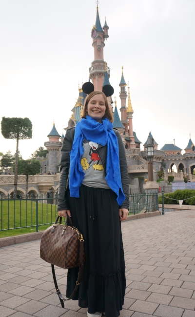 mickey mouse ears and tee maxi skirt leather jacket cobalt louis vuitton scarf at Disneyland Paris castle | awayfromblue