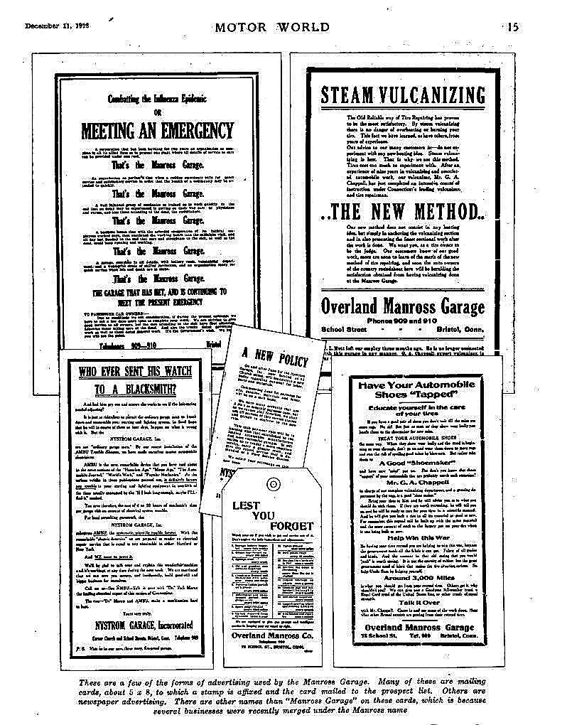 black & white ad copy for Overland Manross Garage etc.