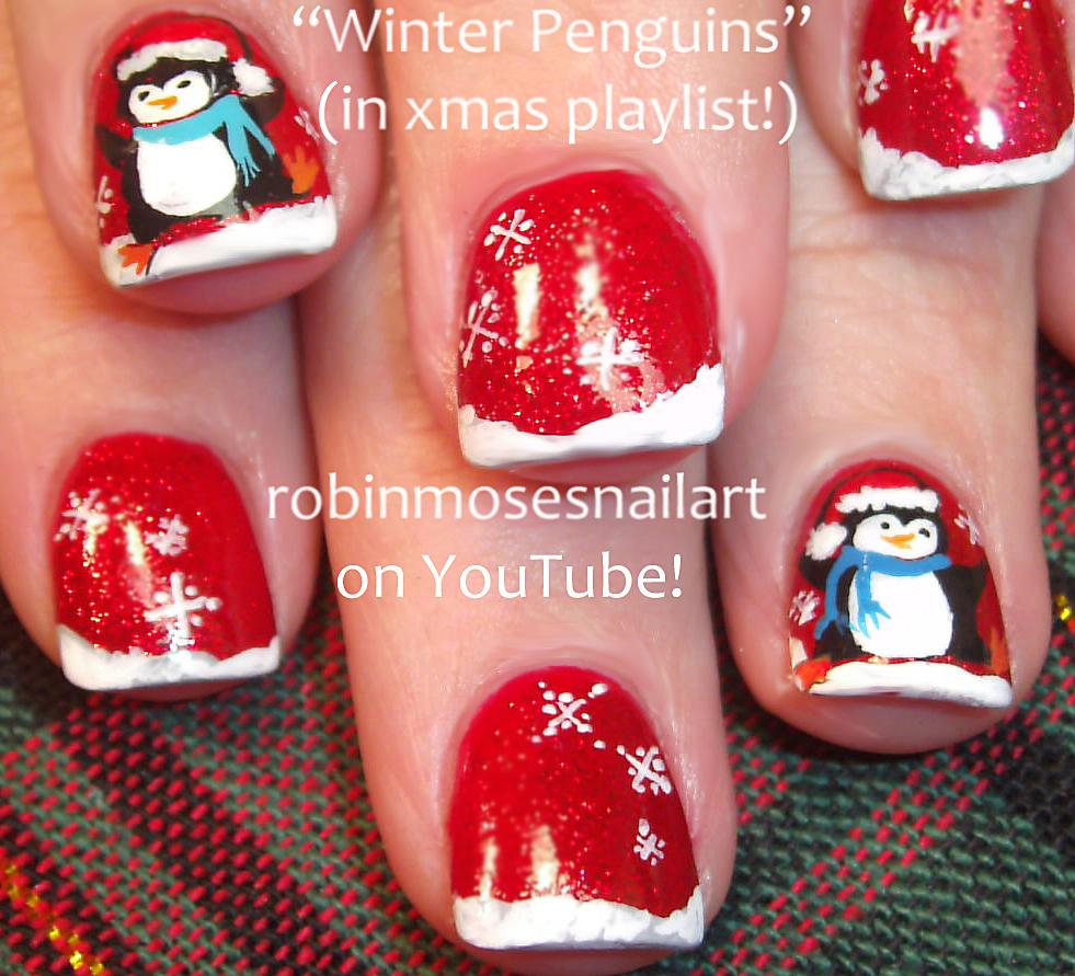 Easy snowflake nail art, Red and Green snowflakes, Penguin nail art ...