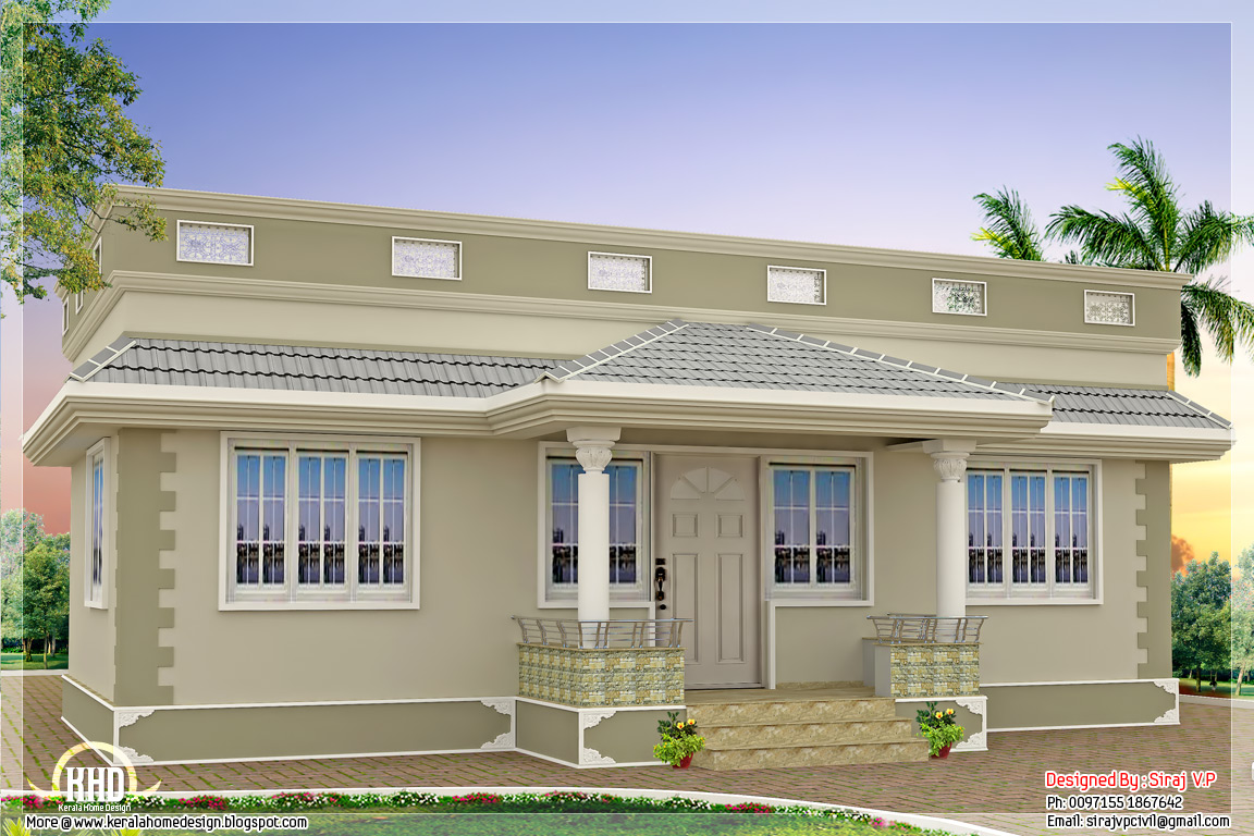 1000 kerala style single floor 3 bedroom home for Single floor 4 bedroom house plans kerala