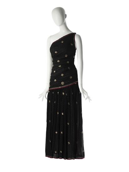 Black sequined evening gown on mannequin designed by Mainbocher in 1951 or 1952