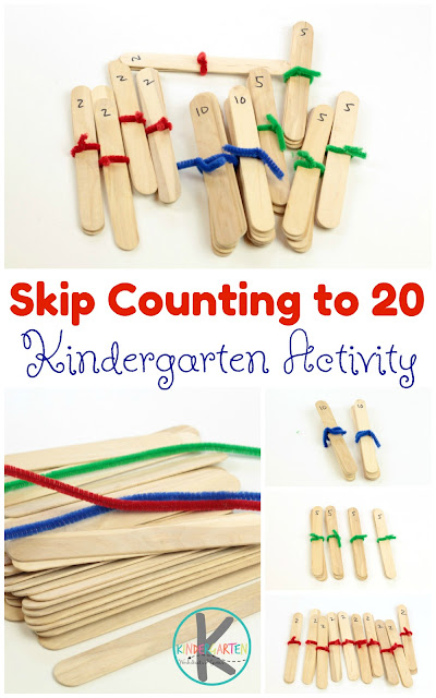 Craft Stick Skip Counting is a fun, hands on math activity that helps kids visualize counting by 2s, counting by 5s, and counting by 10s. This is perfect for a math center, home learning, homeschool, and more!