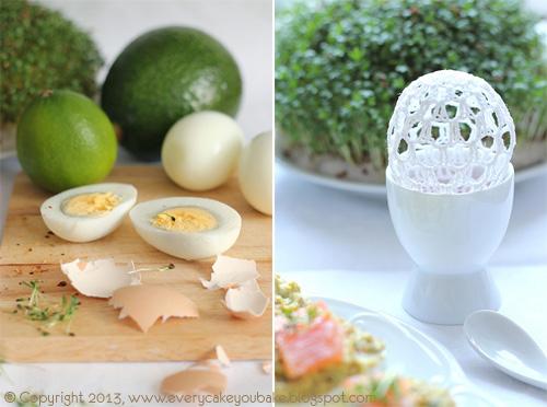 jajka faszerowane z awokado rzeżuchą i wędzonym łososiem