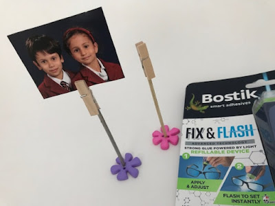 Mini peg photo holders with Bostik