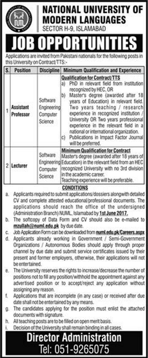 Lecturer Jobs In National University Of Modern Languages Islamabad 20 May 2017