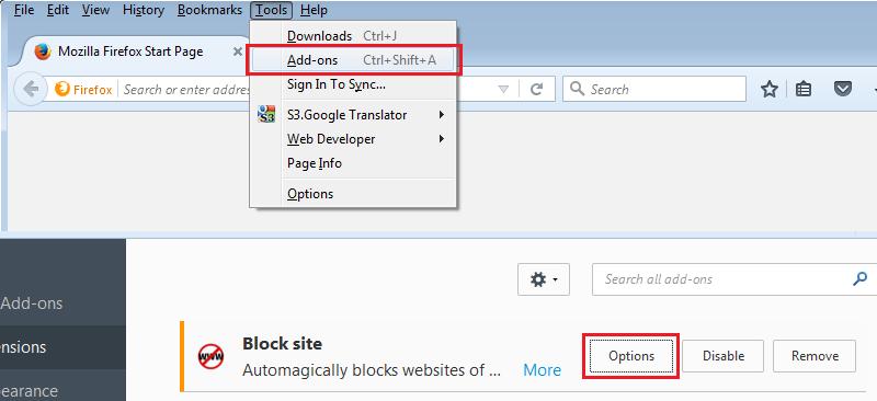 Setting BlockSite
