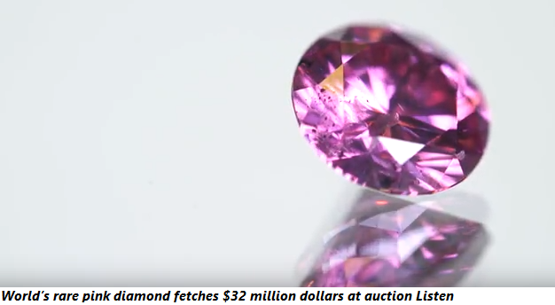 World's rare pink diamond fetches $32 million dollars at auction