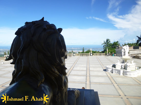 Behind the lion of Temple of Leah in Cebu City