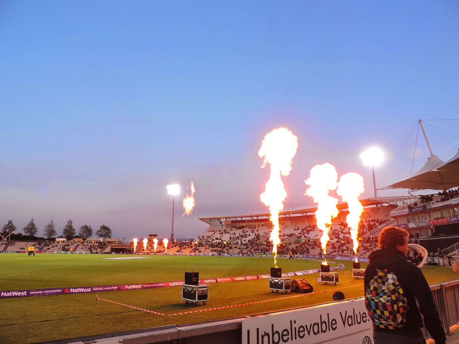 natwest blast t20 cricket match crowd festivities cheerleaders and flame throwers