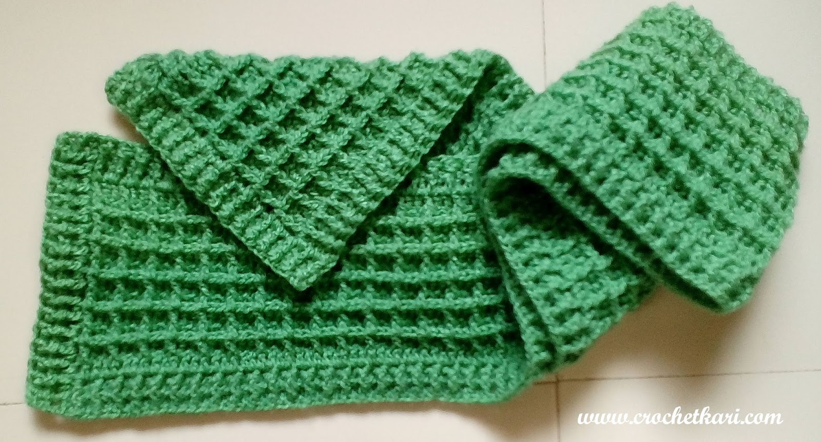 Crochetkari: Waffle Stitch Scarf - First pattern of 2016
