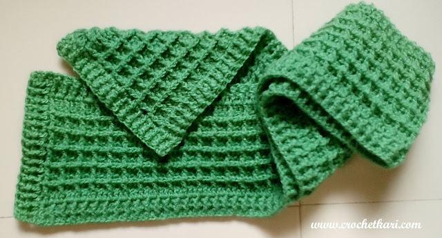 Crochet waffle scarf pattern