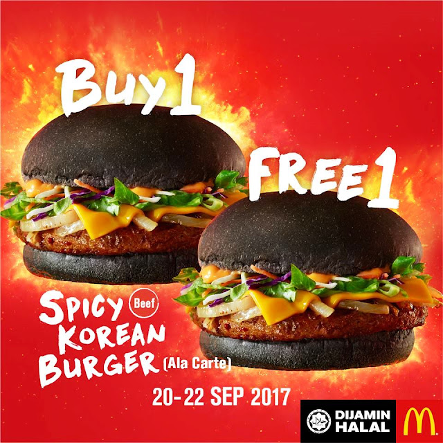 McDonald's BUY ONE FREE ONE Spicy Korean Burger Promotion 20 to 22 Sept 2017