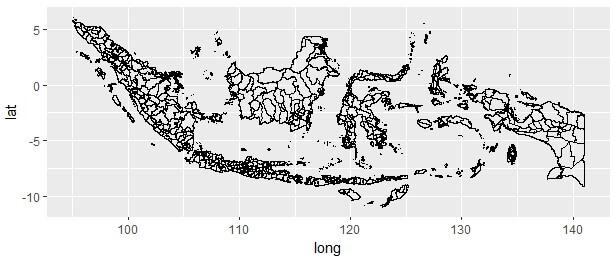 Peta Indonesia di R Sampai Level Kabupaten Kota