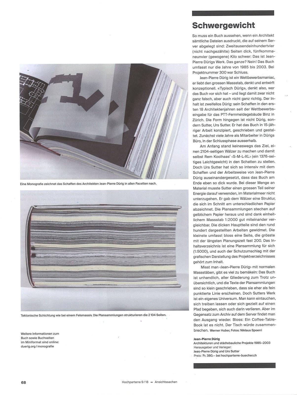 Artikel über Die Monografie Jean Pierre Dürig 1985 2003. Konzept, Text Und  Gestaltung Buch: Urs Sutter