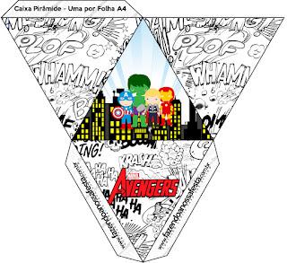 Caja con forma de pirámide de Los Vengadores Chibi.