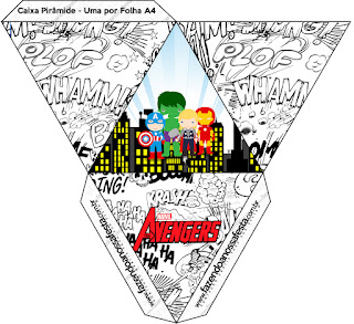 Avengers Chibi Style, Free Printable Pyramid Box.