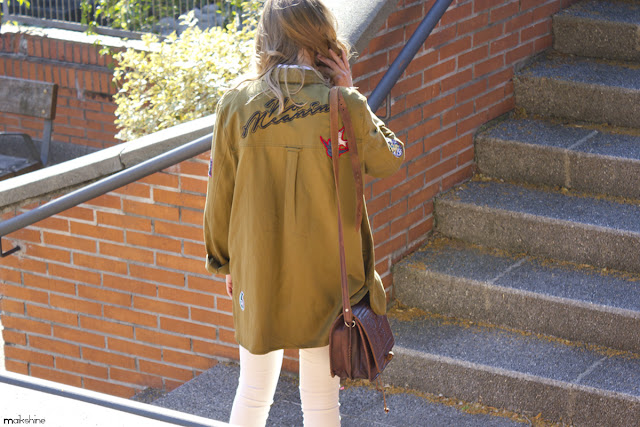 Patched parka outfit