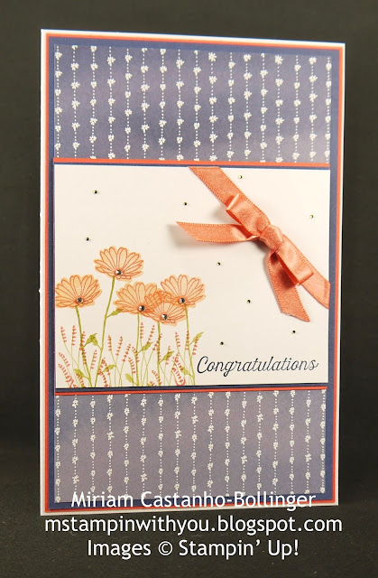 Miriam Castanho-Bollinger, #mstampinwithyou, stampin up, demonstrator, dsc, congratulations, delightful daisy dsp, daisy delight, flourishing phrases stamp set, shimmer ribbon, su