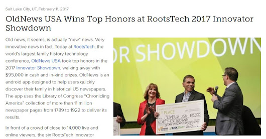 OldNews USA Wins Top Honors at RootsTech 2017 Innovator Showdown