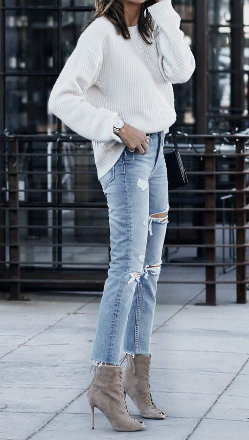 cute outfit idea to copy right now : white sweater + lace up heels + boyfriend jeans