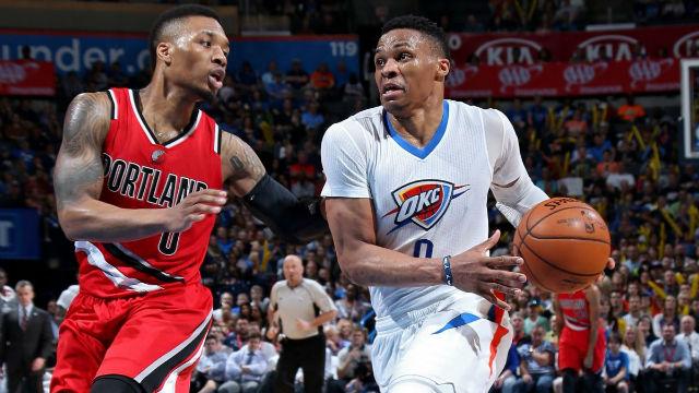Damian Lillard (Portland Trail Blazers) vs Russell Westbrook (Oklahoma City Thunder) #NBA