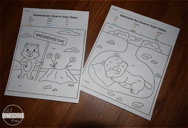 groundhog day sight word worksheets