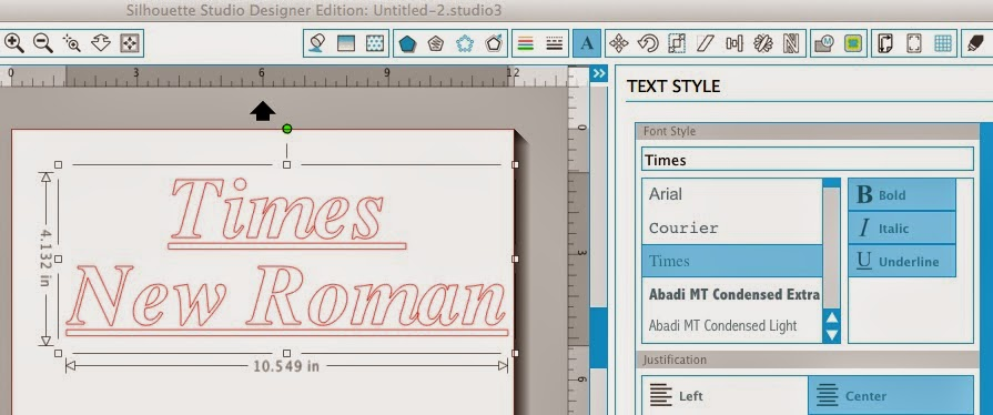 Silhouette Studio, italicize fonts, fonts, Silhouette tutorial, times new roman