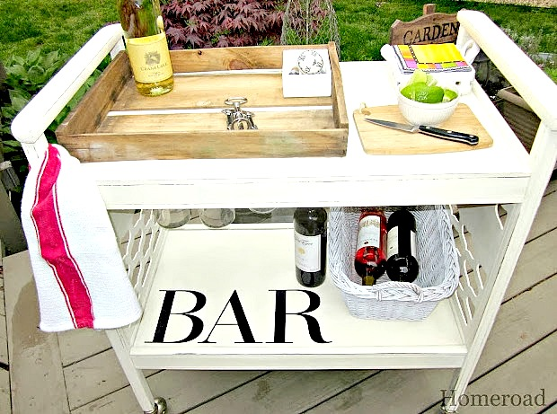 Create a rolling bar cart for your next party from a repurposed old cart.