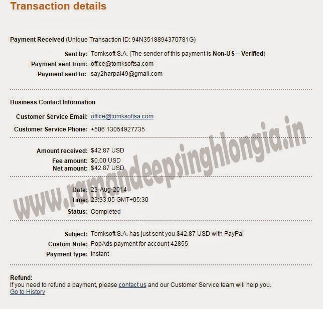 Popads.net payment proof 2014