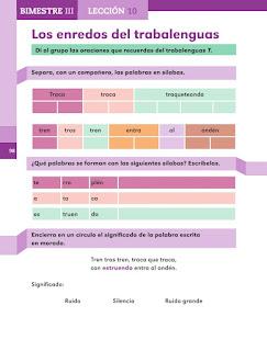 Apoyo Primaria Español 1er grado Bimestre 3 lección 10 Los enredos del trabalenguas