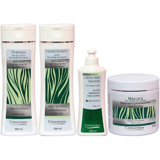 Kit Shampoo, condicionador, creme de pentear e máscara para cabelos com algas marinhas