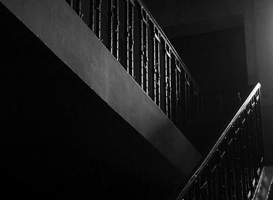 black and white, morning, light, photography, contemporary, stairs, banister, architecture,