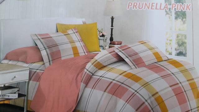 sprei motif Prunella Pink bahan saga