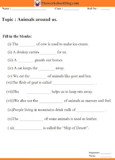 Animal gives us worksheet. fill in the blanks.
