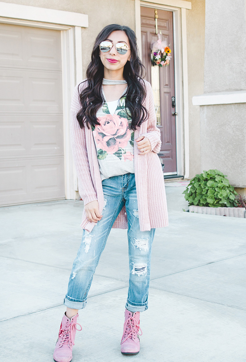 blush cardigan boyfriend jean combat boot outfit