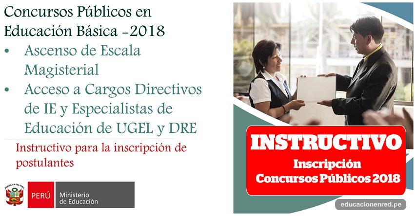 MINEDU: Instructivo para la Inscripción a los Concursos Públicos en Educación Básica 2018 (.PDF) www.minedu.gob.pe
