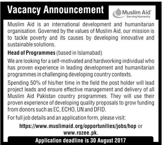 Jobs in Muslim Aid Serving Community Islamabad 11 Aug 2017