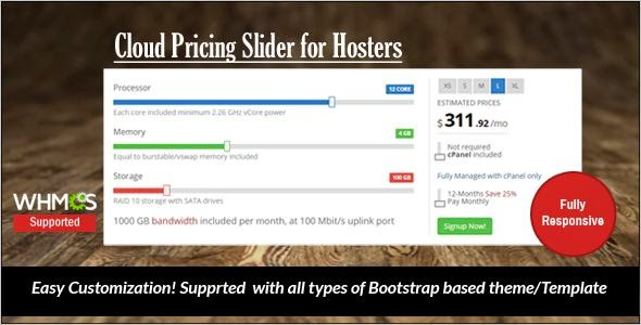 Free JavaScript Cloud Pricing Slider Download