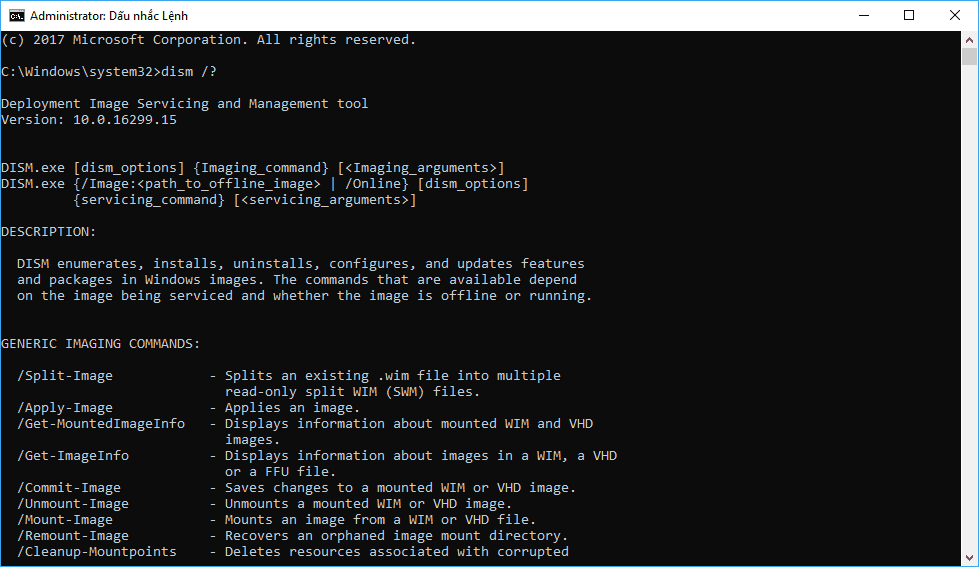 Một số tùy chọn dòng lệnh Dism phổ biến trong quản lý và triển khai hình ảnh Windows 10