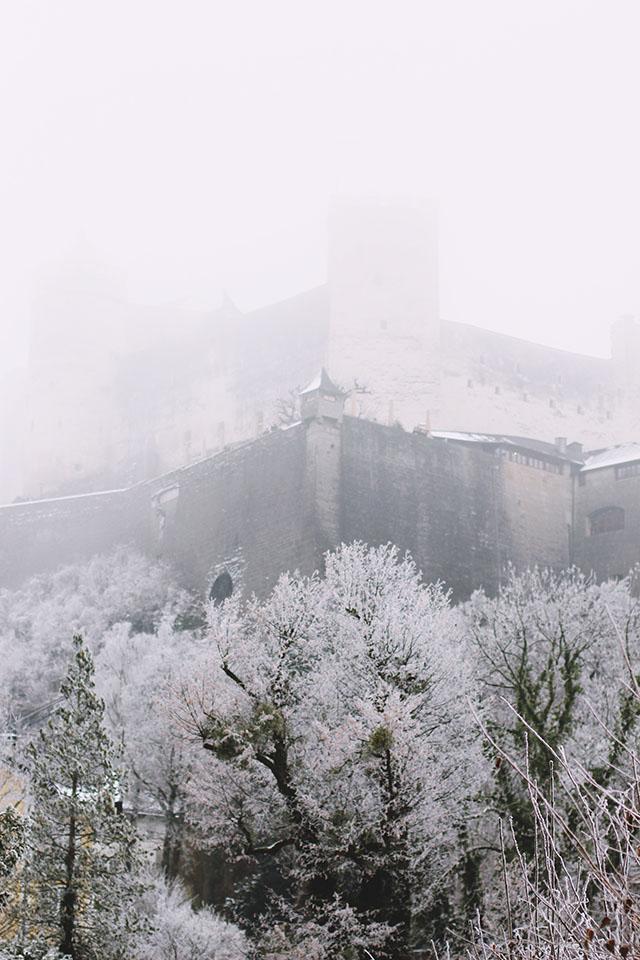 Salzburg fortress fog