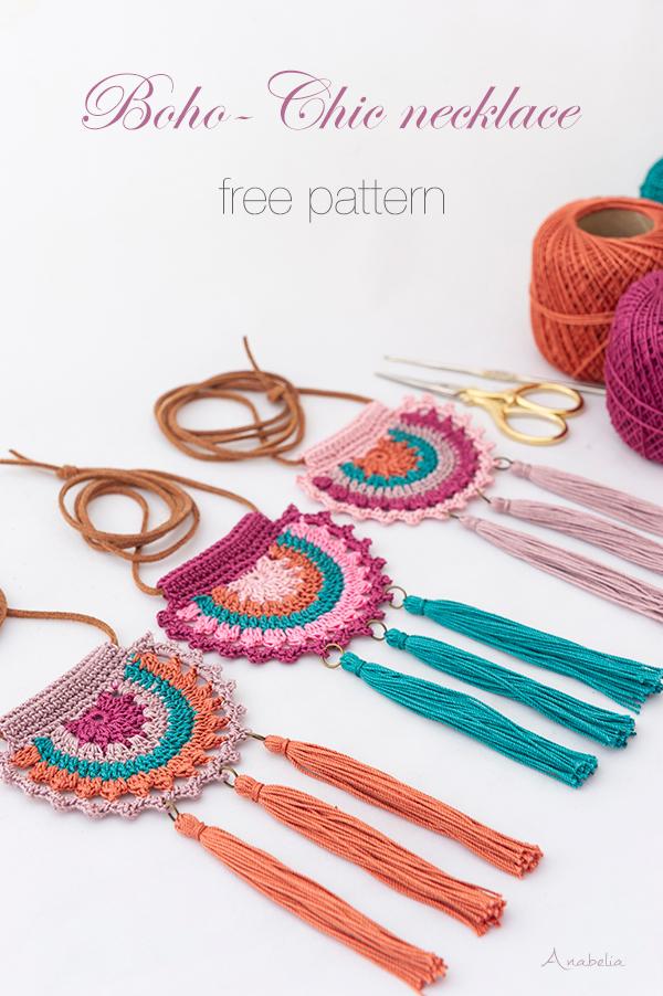 Boho-Chic crochet necklace, free pattern