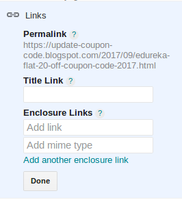 title link and enclosure links in blogger